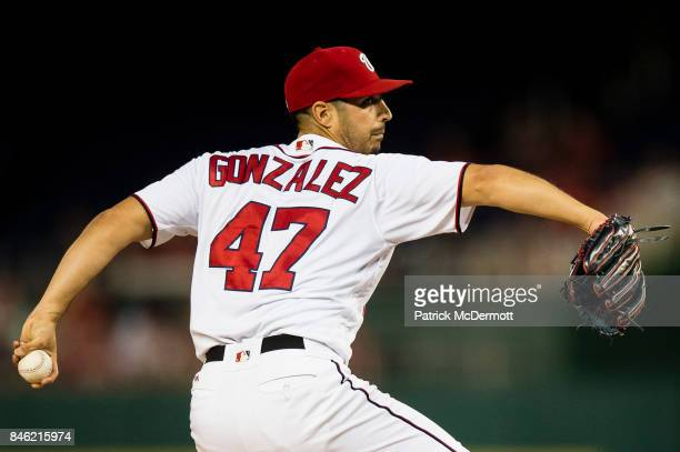 Starting pitcher Gio Gonzalez of the Washington Nationals throws a pitch to a Atlanta Braves batter in the second inning at Nationals Park on...