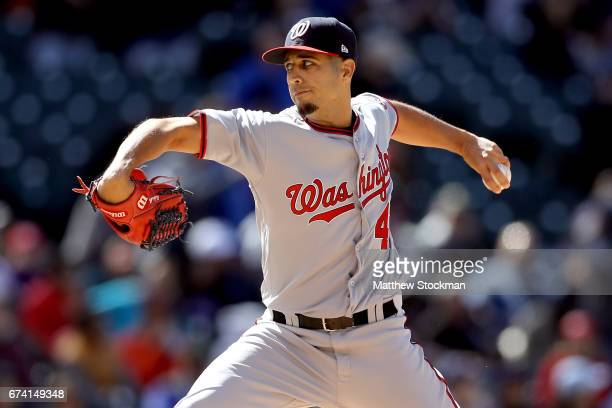 Starting pitcher Gio Gonzalez of the Washington Nationals throws in the seventh inning against the Colorado Rockies at Coors Field on April 27 2017...