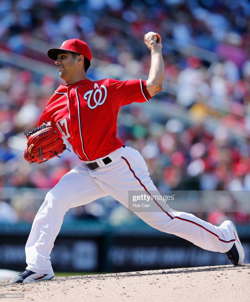 Starting pitcher <a gi-track='captionPersonalityLinkClicked' href=/galleries/search?phrase=Gio+Gonzalez&family=editorial&specificpeople=759378 ng-click='$event.stopPropagation()'>Gio Gonzalez</a> #47 of the Washington Nationals throws to a Chicago Cubs batter during the fourth inning at Nationals Park on May 12, 2013 in Washington, DC.