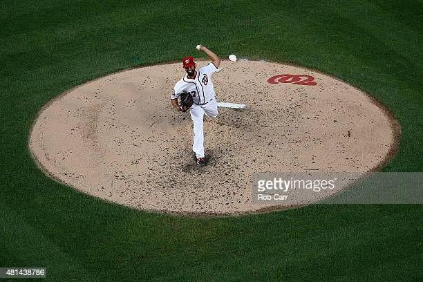 Starting pitcher Gio Gonzalez of the Washington Nationals throws to a New York Mets batter in the third inning at Nationals Park on July 20 2015 in...