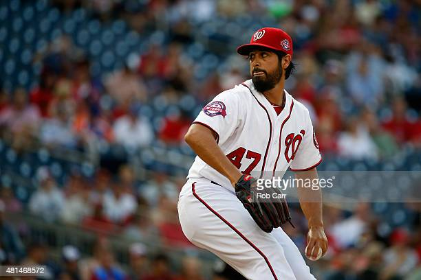 Starting pitcher Gio Gonzalez of the Washington Nationals throws to a New York Mets batter in the first inning at Nationals Park on July 20 2015 in...