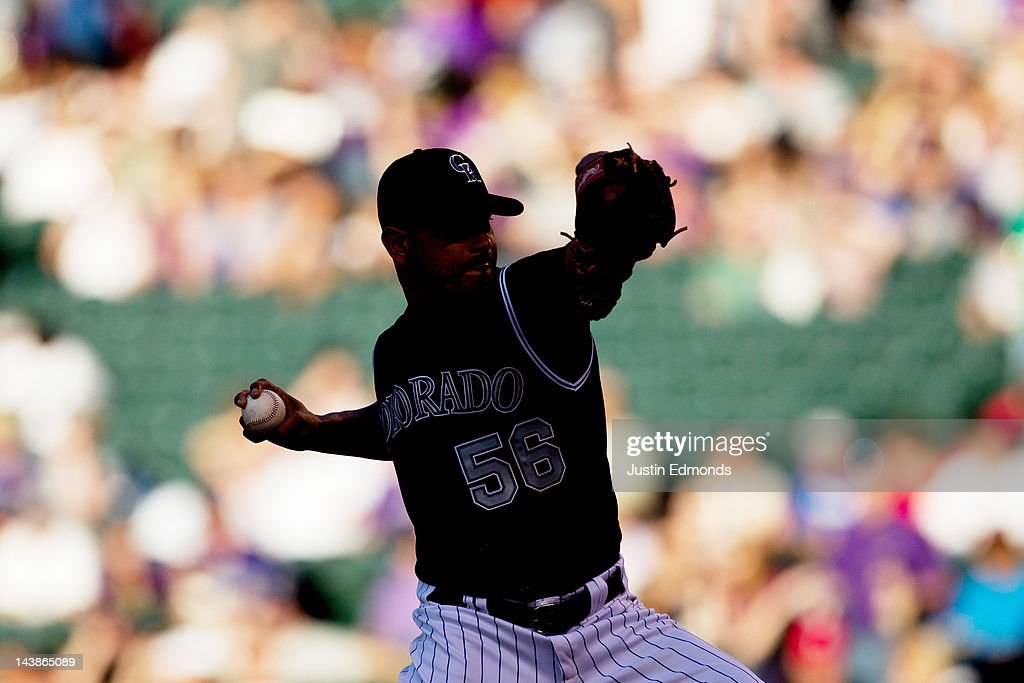 /Starting pitcher Guillermo Moscoso #56 of the Colorado Rockies works the first inning against the Atlanta Braves at Coors Field on May 4, 2012 in Denver, Colorado.