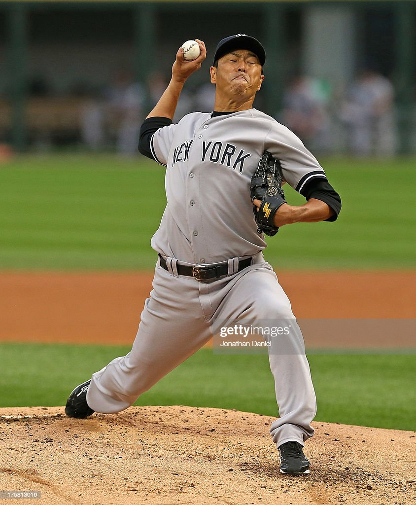Starting pitcher <a gi-track='captionPersonalityLinkClicked' href=/galleries/search?phrase=Hiroki+Kuroda&family=editorial&specificpeople=5498664 ng-click='$event.stopPropagation()'>Hiroki Kuroda</a> #18 of the New York Yankees delivers the ball against the Chicago White Sox at U.S. Cellular Field on August 6, 2013 in Chicago, Illinois. The White Sox defeated the Yankees 3-2.