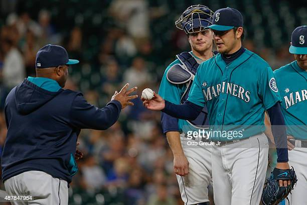 Starting pitcher Hisashi Iwakuma of the Seattle Mariners is removed from the game by manager Lloyd McClendon in the seventh inning against the...