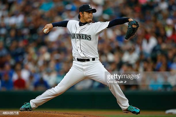 Starting pitcher Hisashi Iwakuma of the Seattle Mariners pitches against the Los Angeles Angels of Anaheim in the first inning at Safeco Field on...