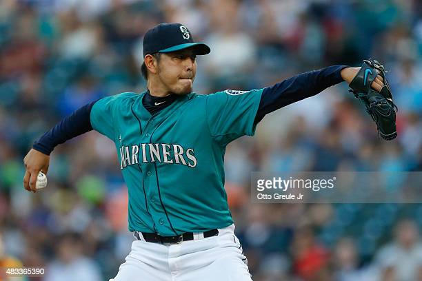 Starting pitcher Hisashi Iwakuma of the Seattle Mariners pitches against the Texas Rangers in the first inning at Safeco Field on August 7 2015 in...
