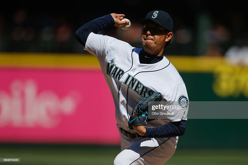 Starting pitcher Hisashi Iwakuma of the Seattle Mariners pitches against the New York Yankees in the third inning at Safeco Field on August 24 2016...