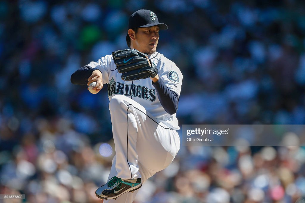 Starting pitcher Hisashi Iwakuma of the Seattle Mariners pitches against the New York Yankees in the fourth inning at Safeco Field on August 24 2016...