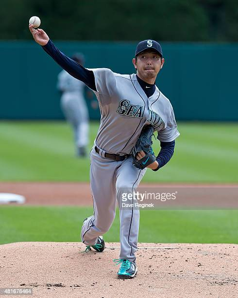 Starting pitcher Hisashi Iwakuma of the Seattle Mariners warms up before the start of the MLB game against the Detroit Tigers at Comerica Park on...