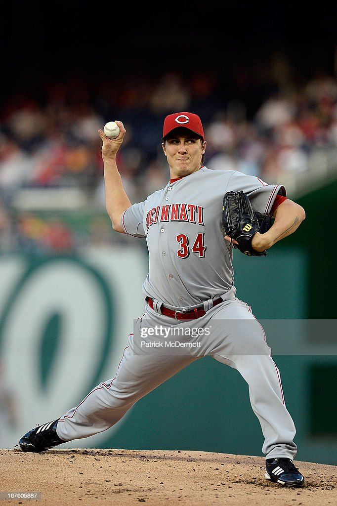 Starting pitcher <a gi-track='captionPersonalityLinkClicked' href=/galleries/search?phrase=Homer+Bailey&family=editorial&specificpeople=759409 ng-click='$event.stopPropagation()'>Homer Bailey</a> #34 of the Cincinnati Reds throws a pitch during the first inning of a game against the Washington Nationals at Nationals Park on April 26, 2013 in Washington, DC.