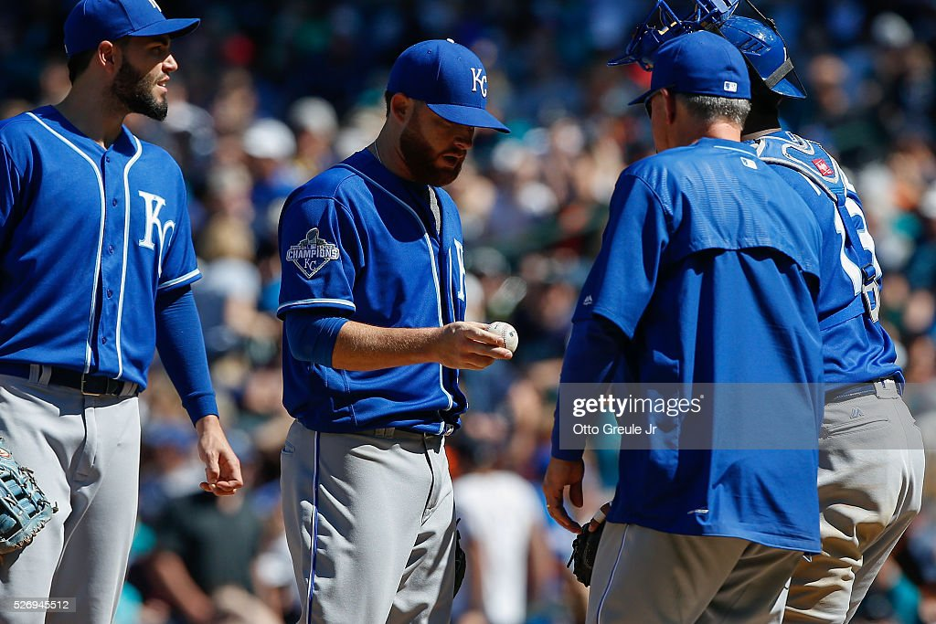 Starting pitcher Ian Kennedy #31 of the Kansas City Royals is removed from the game by manager Ned Yost #3 in the sixth inning against the Seattle Mariners at Safeco Field on May 1, 2016 in Seattle, Washington.