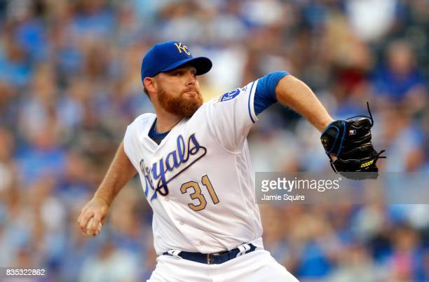 Starting pitcher Ian Kennedy of the Kansas City Royals pitches during the 1st inning of the game against the Cleveland Indians at Kauffman Stadium on...