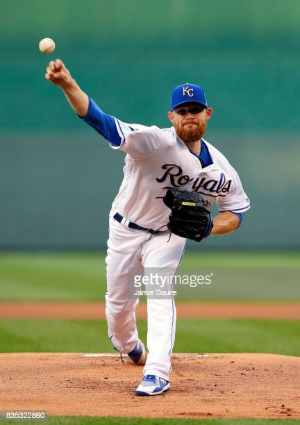 Starting pitcher Ian Kennedy of the Kansas City Royals warms up prior to the game against the Cleveland Indians at Kauffman Stadium on August 18 2017...