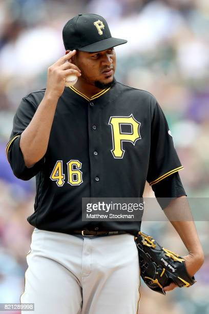 Starting pitcher Ivan Nova of the Pittsburgh Pirates pauses on the mound in the first inning against the Colorado Rockies at Coors Field on July 23...
