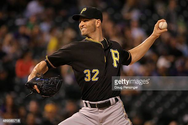 Starting pitcher JA Happ of the Pittsburgh Pirates delivers against the Colorado Rockies at Coors Field on September 22 2015 in Denver Colorado