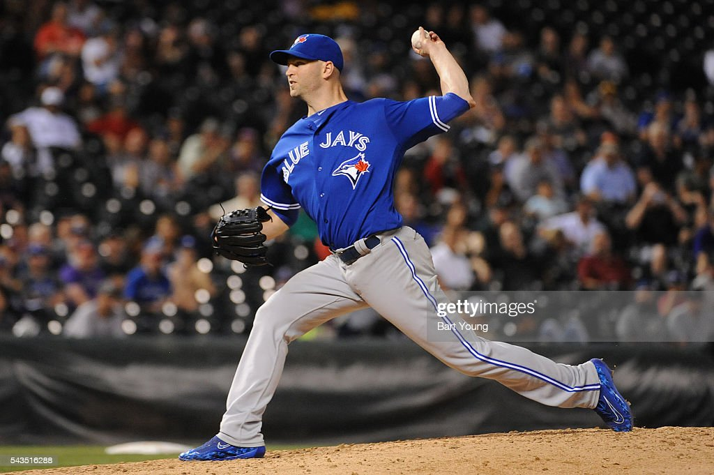 Starting pitcher J.A. Happ # 33 of the Toronto Blue Jays delivers a pitch in the fifth inning against the Colorado Rockies at Coors Field on June 28, 2016 in Denver, Colorado.The Toronto Blue Jays defeat the Colorado Rockies 14-9.