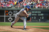 Starting pitcher Jacob deGrom of the New York Mets throws a pitch during a game against the Philadelphia Phillies at Citizens Bank Park on July 17...