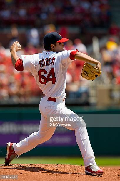 Starting pitcher Jaime Garcia of the St Louis Cardinals throws against the San Diego Padres on July 20 2008 at Busch Stadium in St Louis Missouri The...