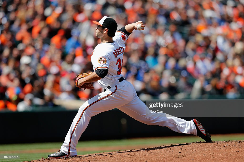 Starting pitcher <a gi-track='captionPersonalityLinkClicked' href=/galleries/search?phrase=Jake+Arrieta&family=editorial&specificpeople=5437045 ng-click='$event.stopPropagation()'>Jake Arrieta</a> #34 of the Baltimore Orioles throws to a Los Angeles Dodgers batter during the first inning at Oriole Park at Camden Yards on April 21, 2013 in Baltimore, Maryland.