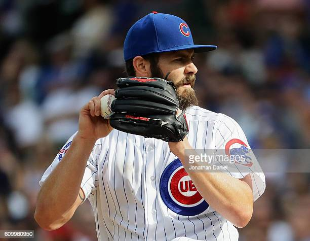 Starting pitcher Jake Arrieta of the Chicago Cubs delivers the ball in the 7thinning against the St Louis Cardinals at Wrigley Field on September 23...