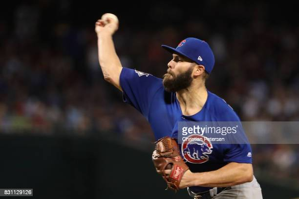 Starting pitcher Jake Arrieta of the Chicago Cubs pitches against the Arizona Diamondbacks during the fifth inning of the MLB game at Chase Field on...