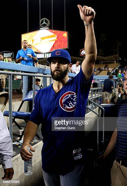 Starting pitcher Jake Arrieta of the Chicago Cubs salutes the crowd after pitching a no hitter against the Los Angeles Dodgers at Dodger Stadium on...