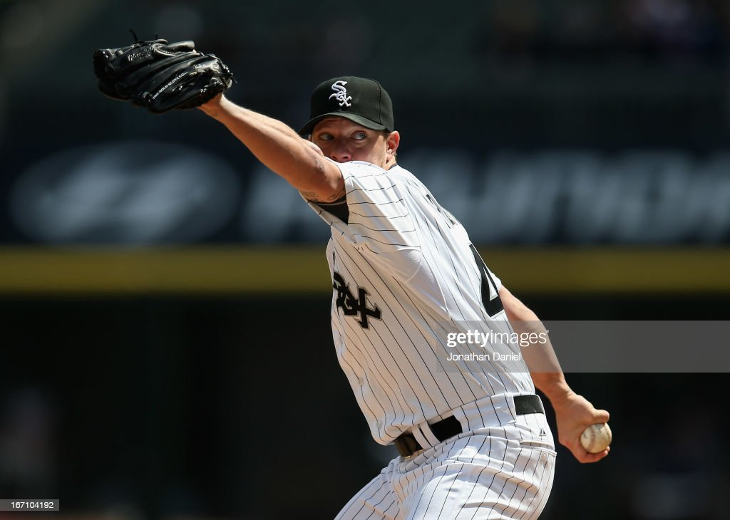 Starting pitcher <a gi-track='captionPersonalityLinkClicked' href=/galleries/search?phrase=Jake+Peavy&family=editorial&specificpeople=211320 ng-click='$event.stopPropagation()'>Jake Peavy</a> #44 of the Chicago White Sox delivers the ball against the Minnesota Twins at U.S. Cellular Field on April 20, 2013 in Chicago, Illinois.