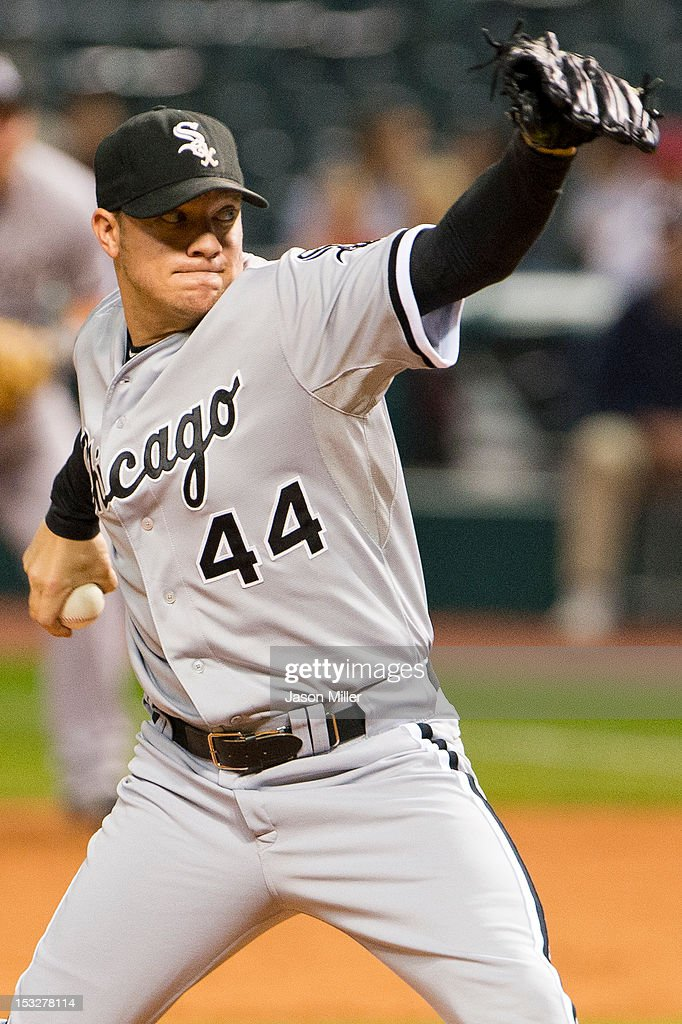 Starting pitcher Jake Peavy #44 of the Chicago White Sox pitches during the second inning against the Cleveland Indians at Progressive Field on October 2, 2012 in Cleveland, Ohio.