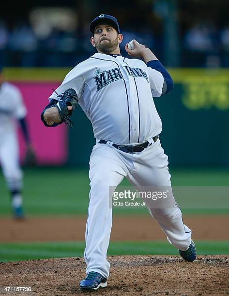 Starting pitcher James Paxton of the Seattle Mariners pitches against the Minnesota Twins in the second inning at Safeco Field on April 25 2015 in...