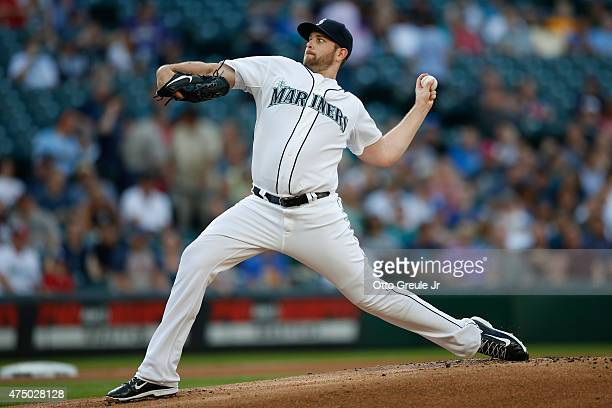 Starting pitcher James Paxton of the Seattle Mariners pitches against the Cleveland Indians in the first inning at Safeco Field on May 28 2015 in...
