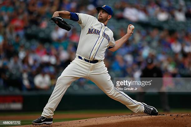 Starting pitcher James Paxton of the Seattle Mariners pitches against the Colorado Rockies in the first inning at Safeco Field on September 13 2015...