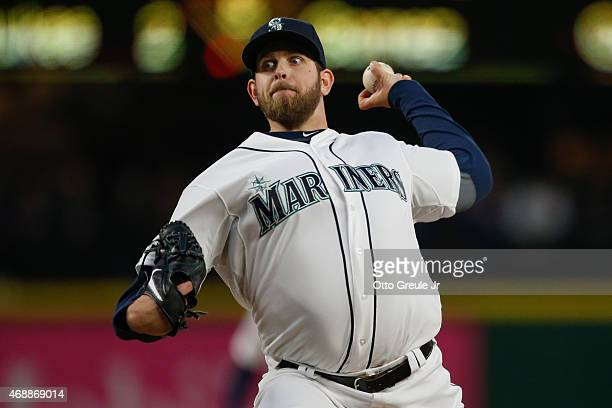Starting pitcher James Paxton of the Seattle Mariners pitches in the third inning against the Los Angeles Angels of Anaheim at Safeco Field on April...