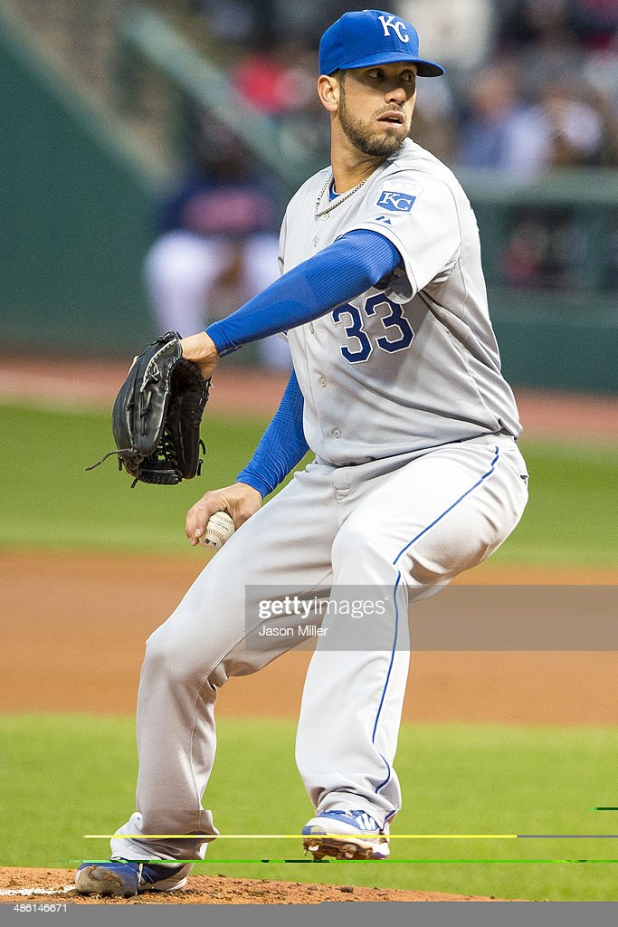 Starting pitcher James Shields #33 of the Kansas City Royals pitches during the first inning against the Cleveland Indians at Progressive Field on April 22, 2014 in Cleveland, Ohio.