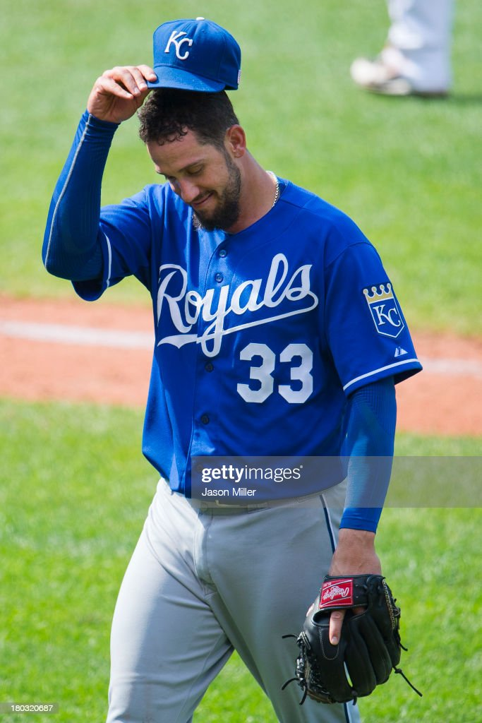 Starting pitcher James Shields #33 of the Kansas City Royals tips his hat to the crowd after pitching in the top of the eighth inning against the Cleveland Indians at Progressive Field on September 11, 2013 in Cleveland, Ohio. The Royals defeated the Indians 6-2.