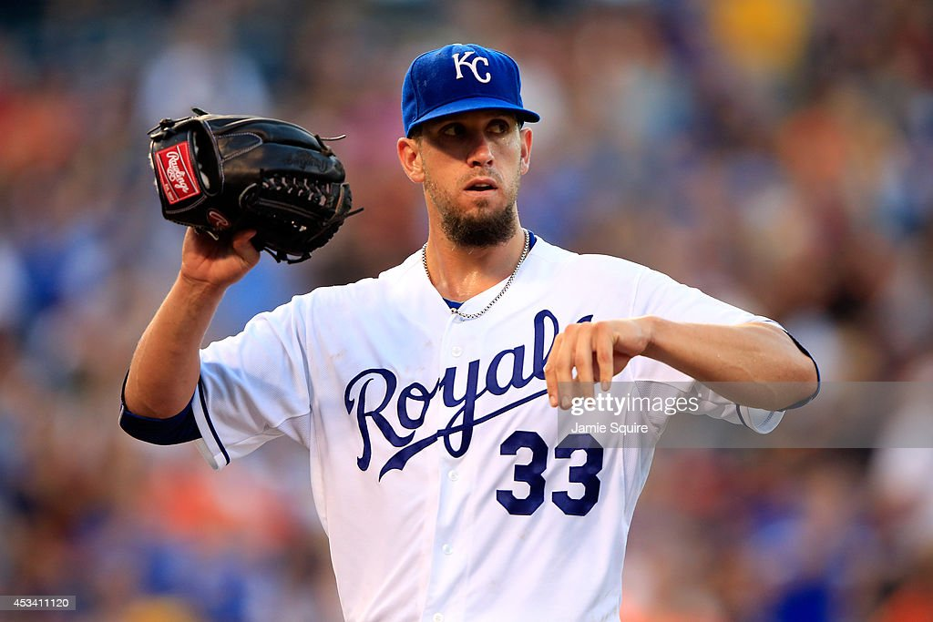 Starting pitcher James Shields #33 of the Kansas City Royals walks off the mound after the top of the 7th inning of the game against the San Francisco Giants at Kauffman Stadium on August 9, 2014 in Kansas City, Missouri.