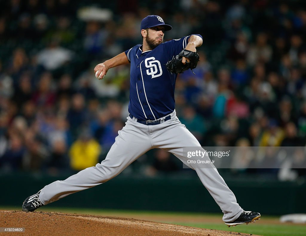 Starting pitcher <a gi-track='captionPersonalityLinkClicked' href=/galleries/search?phrase=James+Shields+-+Baseball&family=editorial&specificpeople=8138267 ng-click='$event.stopPropagation()'>James Shields</a> #33 of the San Diego Padres pitches against the Seattle Mariners in the first inning at Safeco Field on May 13, 2015 in Seattle, Washington.
