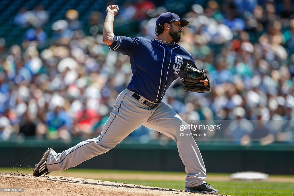 Starting pitcher <a gi-track='captionPersonalityLinkClicked' href=/galleries/search?phrase=James+Shields+-+Baseball+Player&family=editorial&specificpeople=8138267 ng-click='$event.stopPropagation()'>James Shields</a> #33 of the San Diego Padres pitches against the Seattle Mariners in the first inning at Safeco Field on May 31, 2016 in Seattle, Washington.