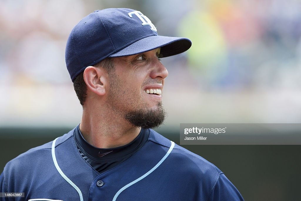 Starting pitcher James Shields #33 of the Tampa Bay Rays reacts after giving up two runs during the third inning against the Cleveland Indians at Progressive Field on July 8, 2012 in Cleveland, Ohio.