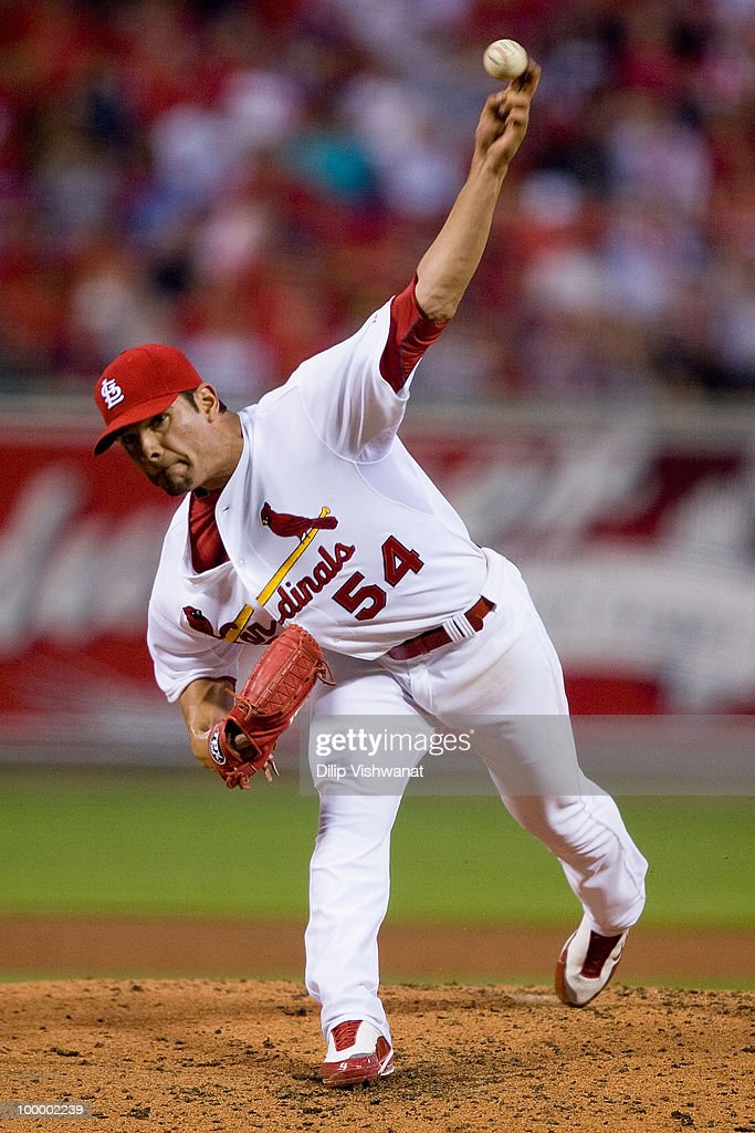 Starting pitcher Jamie Garcia #54 of the St. Louis Cardinals throws against the Florida Marlins at Busch Stadium on May 19, 2010 in St. Louis, Missouri. The Marlins beat the Cradinals 5-1.