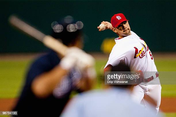 Starting pitcher Jamie Garcia of the St Louis Cardinals throws against the Atlanta Braves at Busch Stadium on April 28 2010 in St Louis Missouri