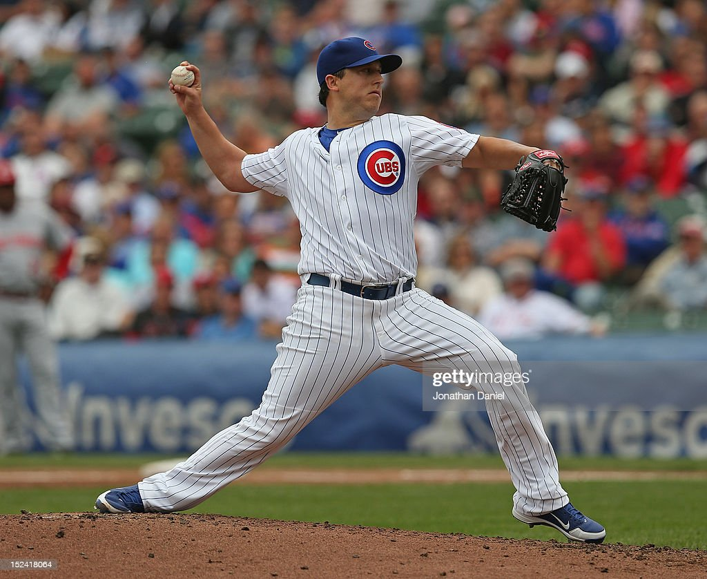 Starting pitcher Jason Berken #57 of the Chicago Cubs delivers the ball against the Cincinnati Reds at Wrigley Field on September 20, 2012 in Chicago, Illinois.