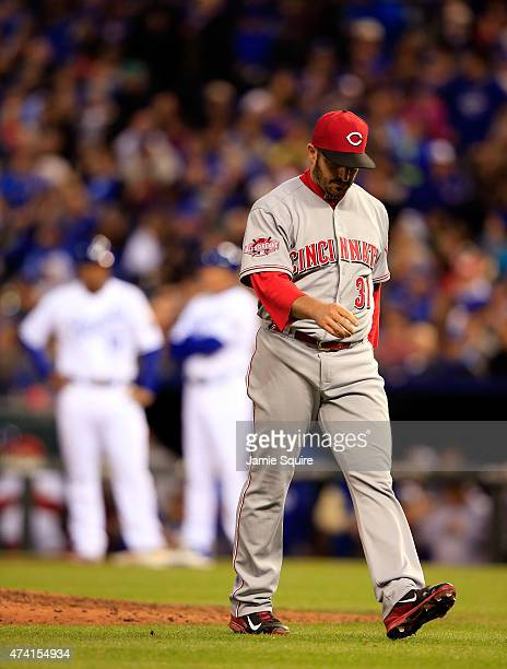 Starting pitcher Jason Marquis of the Cincinnati Reds walks off the field after being pulled during the 5th inning of the game against the Kansas...