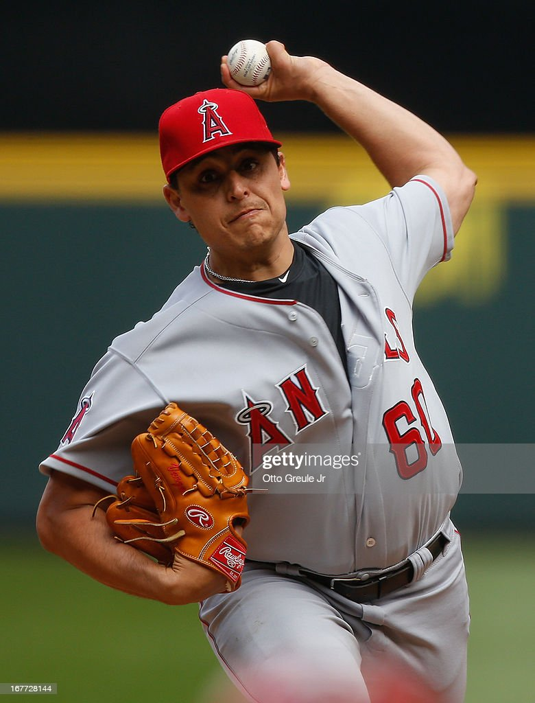 Starting pitcher <a gi-track='captionPersonalityLinkClicked' href=/galleries/search?phrase=Jason+Vargas&family=editorial&specificpeople=640899 ng-click='$event.stopPropagation()'>Jason Vargas</a> #60 of the Los Angeles Angels of Anaheim pitches against the Seattle Mariners at Safeco Field on April 28, 2013 in Seattle, Washington.