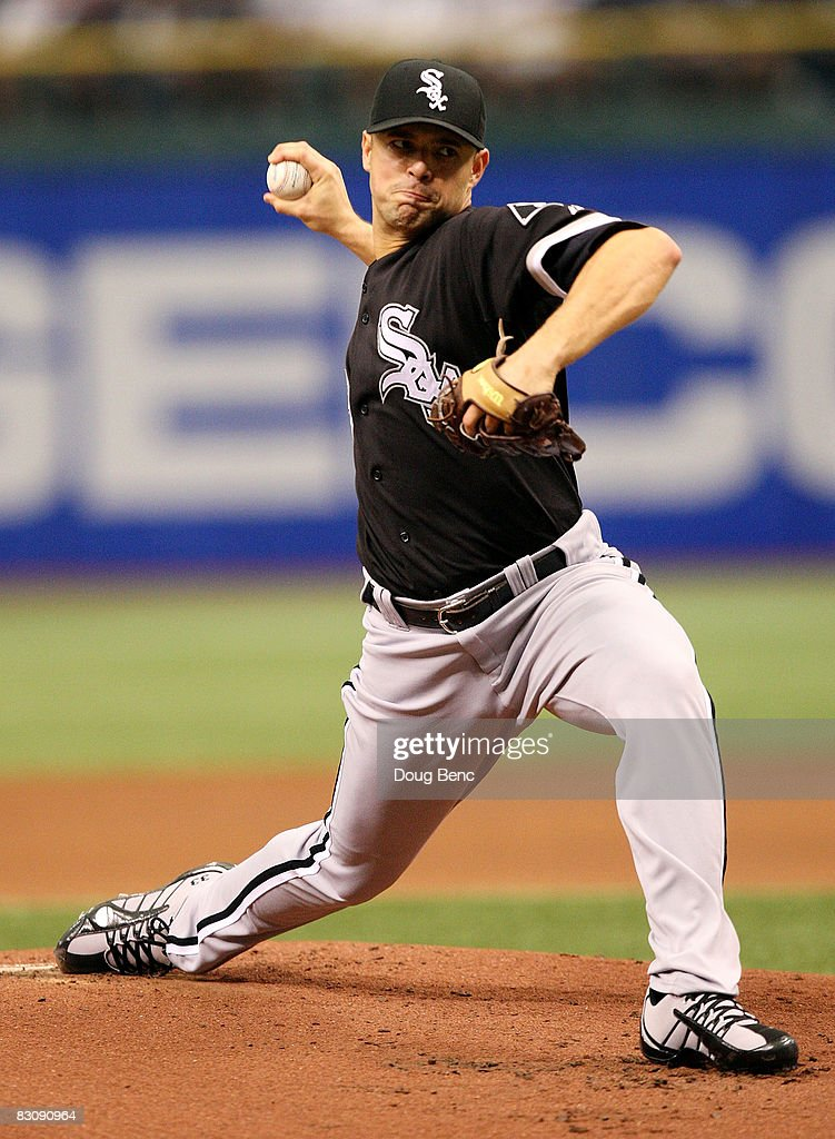 Starting pitcher Javier Vazquez #33 of the Chicago White Sox pitches in the first inning against the Tampa Bay Rays in Game 1 of the American Leaugue Divisional Series at Tropicana Field on October 2, 2008 in St. Petersburg, Florida.
