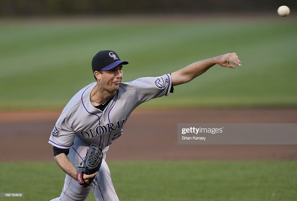 Starting pitcher <a gi-track='captionPersonalityLinkClicked' href=/galleries/search?phrase=Jeff+Francis&family=editorial&specificpeople=220827 ng-click='$event.stopPropagation()'>Jeff Francis</a> #26 of the Colorado Rockies delivers during the first inning against the Chicago Cubs on May 14, 2013 at Wrigley Field in Chicago, Illinois.