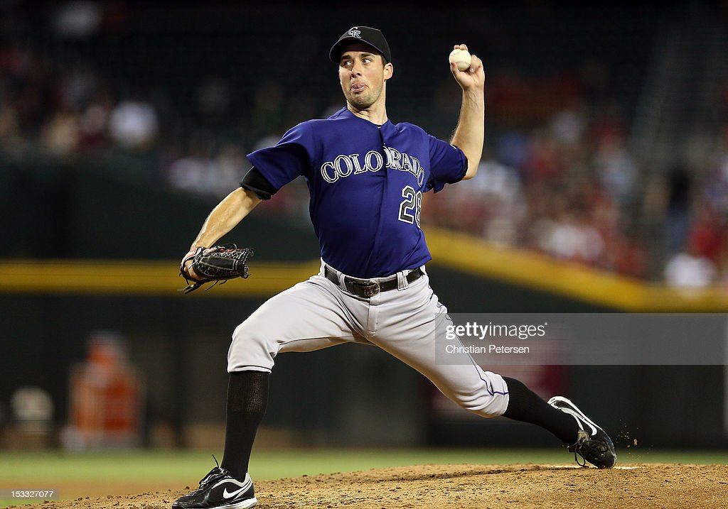Starting pitcher Jeff Francis #26 of the Colorado Rockies pitches against the Arizona Diamondbacks during the MLB game at Chase Field on October 3, 2012 in Phoenix, Arizona.