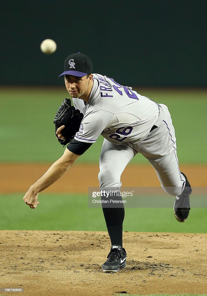 Starting pitcher Jeff Francis of the Colorado Rockies pitches against the Arizona Diamondbacks during the MLB game at Chase Field on April 27 2013 in...