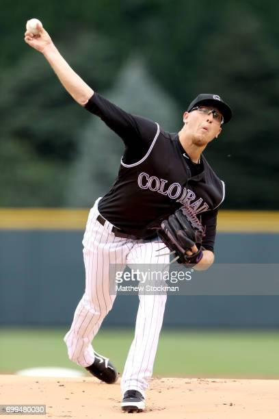 Starting pitcher Jeff Hoffman of the Colorado Rockies throws in the first inning against the Arizona Diamondbacks at Coors Field on June 21 2017 in...