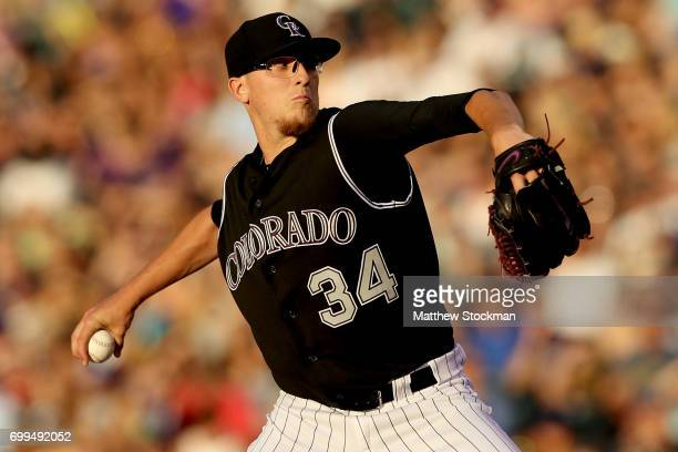 Starting pitcher Jeff Hoffman of the Colorado Rockies throws in the fourth inning against the Arizona Diamondbacks at Coors Field on June 21 2017 in...