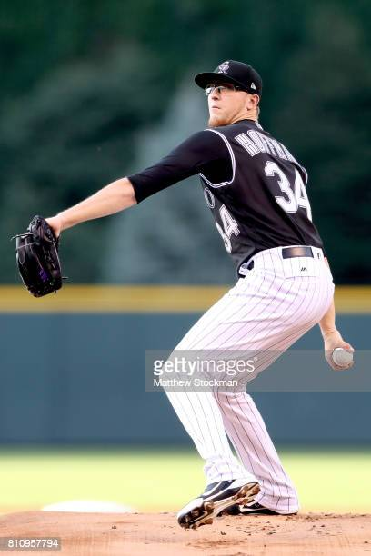 Starting pitcher Jeff Hoffman of the Colorado Rockies throws in the first inning against the Chicago White Sox at Coors Field on July 8 2017 in...